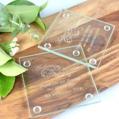Engraved Wedding Gift Glass Coaster