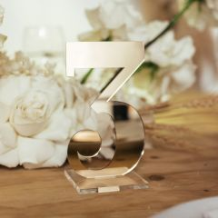 Laser Cut Mirror Gold Number 3 Wedding Table Number With Square Clear Base