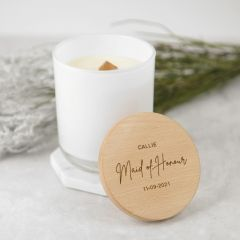 Personalised Engraved Bridal Party White Wood Wick Soy Candle with Wooden Lid Gift