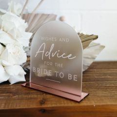 Personalised Engraved Acrylic Wishes and Advice Wedding Sign with Rose Gold Stand