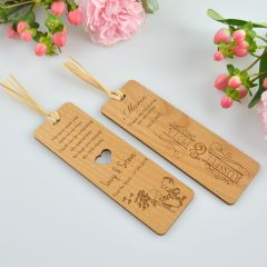 custom designed engraved wedding bomboniere wooden bookmark