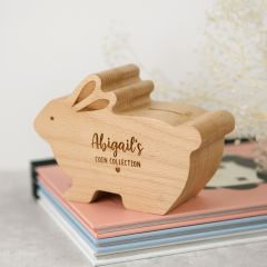 Personalised Engraved Wooden Rabbit Money Box Easter Present