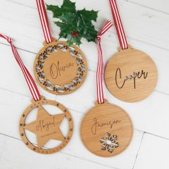 Personalised Engraved Wooden Christmas Bauble Decoration Present