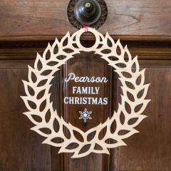 Laser Cut Wooden Christmas Wreath with Engraved Clear Acrylic Backing