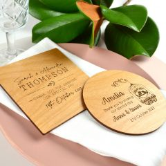 Personalised Engraved Square & Round Wooden Wedding Coaster Place cards Favours