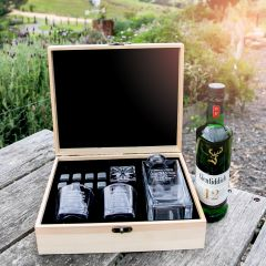 Customised Engraved Wooden Gift Boxed Birthday Decanter, Scotch Glasses and Whiskey Stone Set Birthday Present