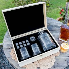 Personalised Engraved Birthday Round Decanter and Scotch Glasses with Whiskey Stones and Wooden Box