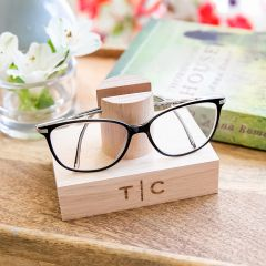 Personalised Engraved Tasmanian Oak Reading Glasses Stand Birthday Gift