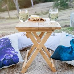 Personalised Engraved Wooden Collapsible Picnic Table and Matching Twin Wine Set Mother's Day Present