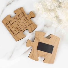 Personalised Engraved Wooden Save the Dates Puzzle pieces