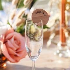 Custom Designed Engraved Wooden Wedding reception glassware Place Card