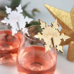 Custom Designed Mirror Silver & Gold Acrylic Christmas Snowflake Glassware Placecards