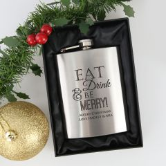 Personalised Engraved Eat Drink & Be Merry Christmas Silver Hip Flask Present in silk lined box