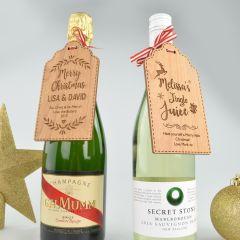 Custom Designed Engraved Christmas Wooden Wine Bottle Gift Tag