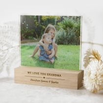 Personalised Colour Printed Acrylic Photo Print with Engraved Wooden Base Mother's Day Present
