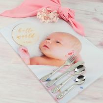 Frosted Acrylic Photo Print Placemat with Engraved Cutlery 4 Piece Set