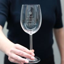 """Personalised Engraved """"After School Snack"""" Teacher Christmas Wine Glass Present"""