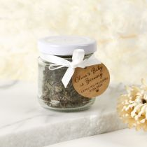 Personalised Engraved 100ml Round Baby Shower Favour Jar with Wooden Gift Tag