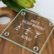 """Personalised Engraved """"Holiday Workout"""" Glass Coaster Gift"""