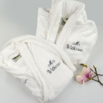 Mr & Mrs Surname Embroidered Bathrobe for Wedding gift for bride and groom