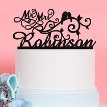 Custom Designed Laser Cut Acrylic Love Birds Acrylic Wedding Reception Cake Topper