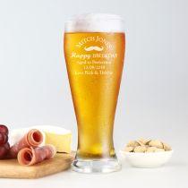 Personalised Engraved Birthday 425ml Beer Glass Present