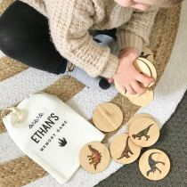Personalised Printed Dinosaur Wooden Memory Game with Calico Bag