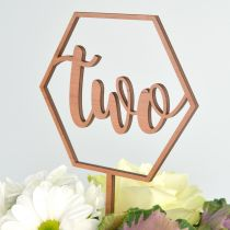 Personalised laser Cut and Engraved Wooden Hexagon 2nd Birthday Cake Topper