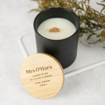 Personalised Engraved Black Wood Wick Soy Candle with Wooden Lid Teacher's Gift