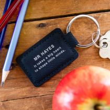 Personalised Engraved Black Leatherette Rectangle Teacher Christmas Keyring Present