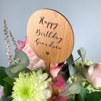 Personalised Engraved Wooden Birthday Bouquet Flower topper