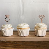 Personalised Laser Cut & Engraved Acrylic Bridal Shower Cup Cake Toppers