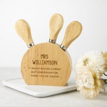 Personalised Engraved Wooden 3 Piece Cheese Knife Set Teacher's Gift