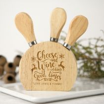 Personalised Engraved Wooden Christmas Cheese Knife Block Set