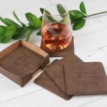 Personalised Engraved Set of 6 Christmas Square Leatherette Coasters Present