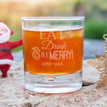 """Personalised Engraved """"eat, drink and be merry"""" Christmas scotch whiskey round glass secret Santa present"""