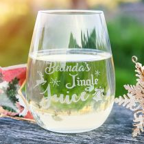 Personalised Engraved Christmas 460ml Stemless Wine Glass Present