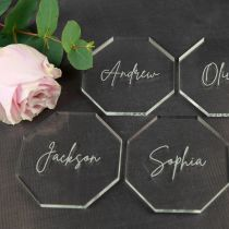 Personalised Engraved Clear Acrylic Octagon Name Wedding Reception Place Cards Coasters Favours