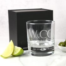 Personalised Engraved Company Logo Round Premium European Scotch Glass with Black Gift Box Corporate or Employee Promotional Gift