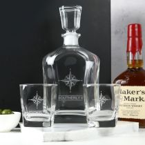 Personalised Engraved Premium European Decanter with Matching Scotch Glasses Set Corporate or Employee Gift