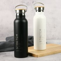 Engraved Corporate Logo White and Black Stainless Steel Sports Drink Water Bottle Client or Corporate Gift