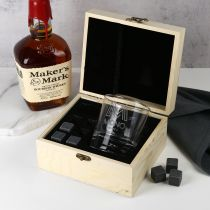 Personalised Engraved Corporate Logo Wooden Gift Boxed Scotch Glass and Whiskey Stone Set Company or Client Promotional Gift