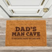 """Personalised Engraved Father's Day """"Dad's Man Cave"""" Door Mat Gift"""