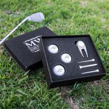 Personalised Engraved Birthday Black Leatherette Golf Gift Set