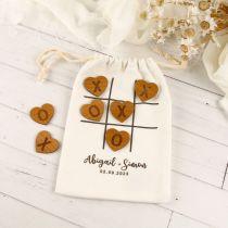 Personalised Printed Noughts & Crosses Calico Bag Wedding Game Gift