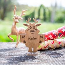 Personalised Engraved Wooden Christmas Reindeer Place Card with Stand