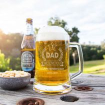 Personalised Engraved Father's Day Glass Beer Stein Mug Present