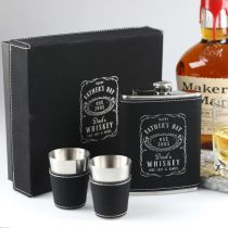 Personalised Engraved Father's Day Black Leather Hip Flask, Shot Glasses & Leather-bound Gift Box Present