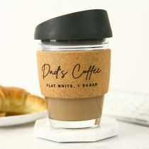 Personalised Engraved Father's Day Glass Cork Band Coffee Keep Cup Present