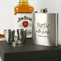 Personalised Engraved Father's Day Silver Hip Flask With Silver Shot Glasses Present